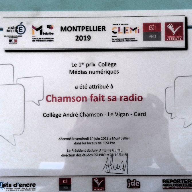 1er prix mediatiks chamson fait sa radio